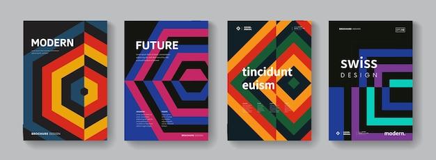 Sammlung von geometrischen retro-mustern. schweizer moderne poster eingestellt. hintergrund im bauhaus-stil.