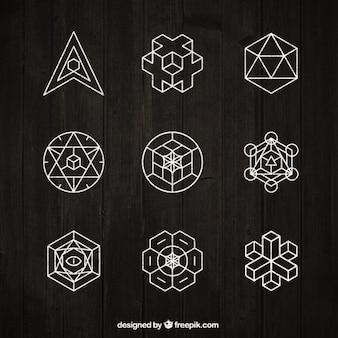 Sammlung von geometrischen weißen ornament