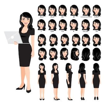 Sammlung von geschäftsfrau zeichentrickfigur