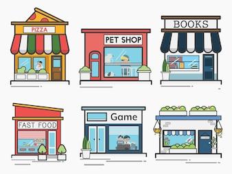 Sammlung von Geschäften und Geschäften