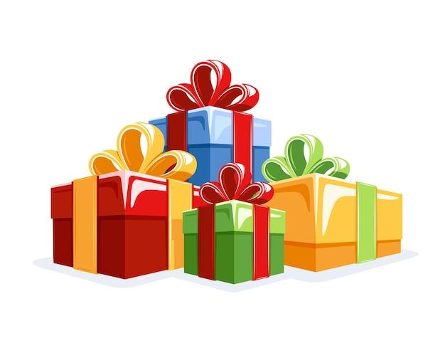 Sammlung von geschenkboxen im flachen stil