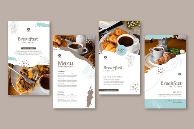 Sammlung von geschichten des frühstücksrestaurants instagram