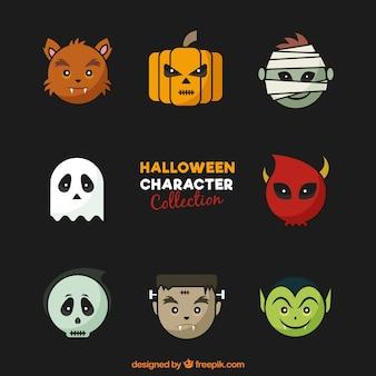Sammlung von gesicht des halloween-charakters
