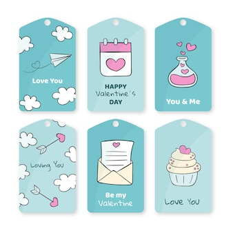 Sammlung von gezeichneten valentinstagetiketten