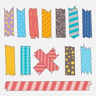 Sammlung von gezeichneten washi tape