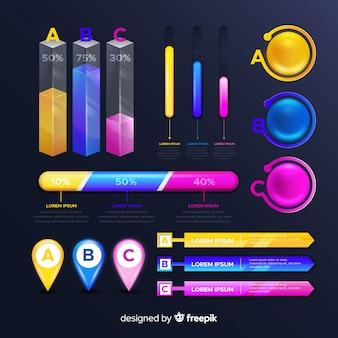 Sammlung von glänzenden infografik-elementen