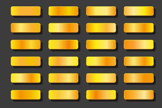 Sammlung von glanzgoldhintergrund. satz glatte goldene texturen. vektorillustration