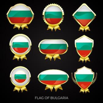 Sammlung von goldenen abzeichen der goldenen flagge von bulgarien
