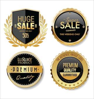 Sammlung von goldenen abzeichen etiketten und tags