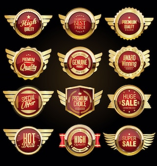 Sammlung von goldenen abzeichen und etiketten im retro-stil