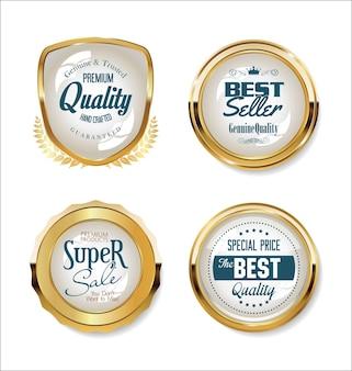 Sammlung von goldenen abzeichen und etiketten retro-design