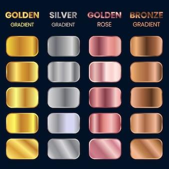 Sammlung von goldenen farbverläufen, silbernen farbverläufen, bronzenen farbverläufen, goldenen rosenverläufen