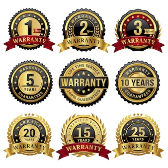Sammlung von goldenen garantiejahren abzeichen und etiketten