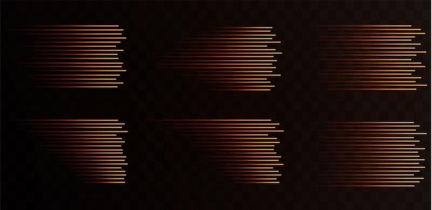 Sammlung von goldenen geschwindigkeitslinien isoliert goldlicht elektrisches licht lichteffekt png