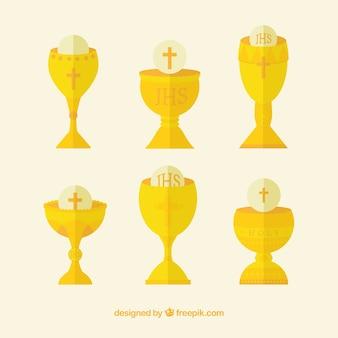 Sammlung von goldenen kelchen