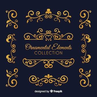 Sammlung von goldenen ornamenten