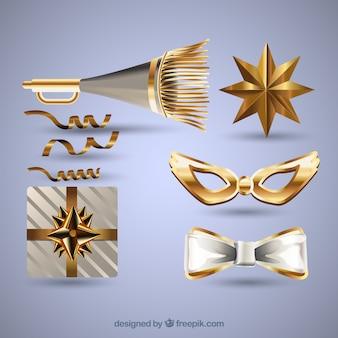 Sammlung von goldenen party-elementen für das neue jahr