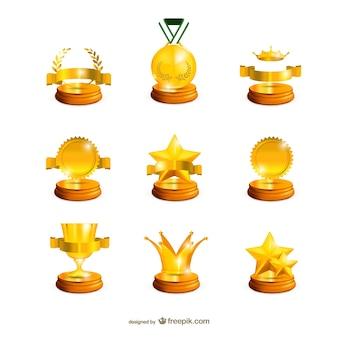 Sammlung von goldenen trophäen