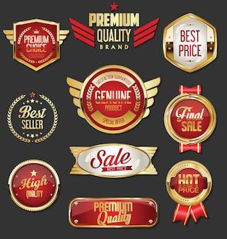 Sammlung von goldenen und roten abzeichen und etiketten im retro-stil