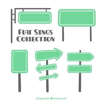Sammlung von grünem zeichen