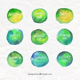 Sammlung von grünen aquarell splots