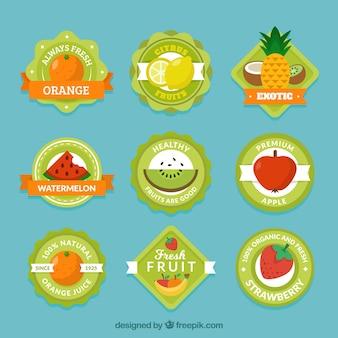 Sammlung von grünen etiketten mit verschiedenen früchten