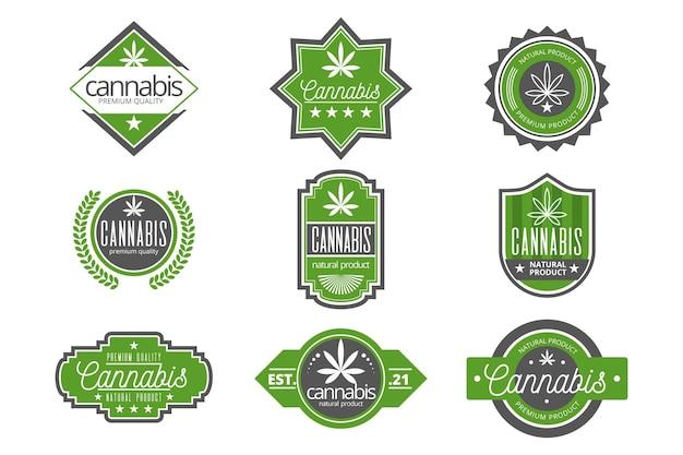 Sammlung von grünen medizinischen cannabisabzeichen