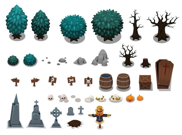 Sammlung von gruseligen friedhofsobjekten