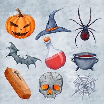 Sammlung von gruseligen halloween-elementen