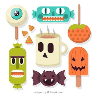 Sammlung von gruseligen süßigkeiten bereit für halloween