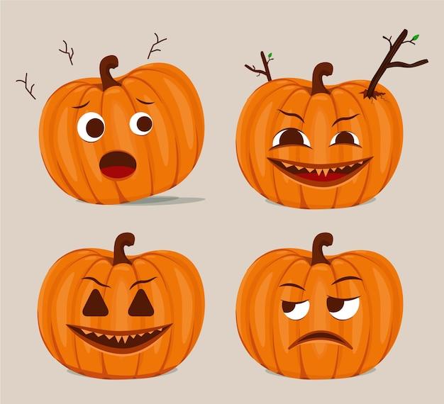 Sammlung von gruseligen und niedlichen halloween-kürbis-expressionsvektoren