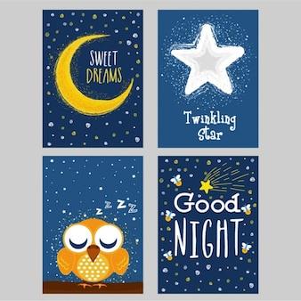 Sammlung von gute nacht karten