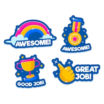 Sammlung von guten job- und tollen jobaufklebern
