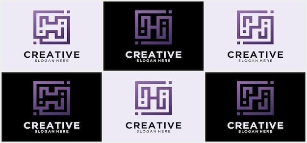 Sammlung von h-buchstaben abstrakte linien minimalistisches logo-template-design abstrakter buchstabe h. grafisches alphabet-symbol für corporate business identity.