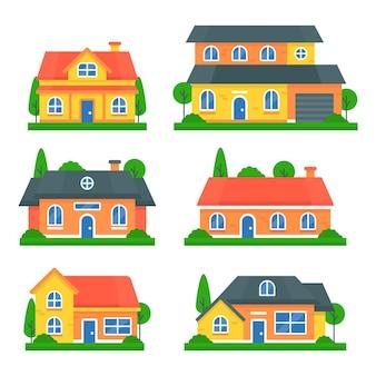 Sammlung von häusern und gärten
