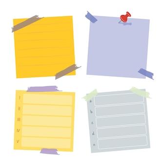 Sammlung von haftnotizen. poste es für ein arbeitsmemo, eine erinnerung daran, es zu tun. sammlung von büropapieraufklebern.