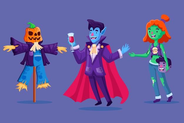 Sammlung von halloween-charakter in flachem design