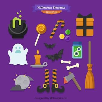 Sammlung von halloween-elemente auf einem lila hintergrund