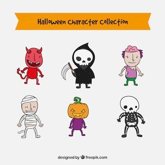 Sammlung von halloween-figuren in einem süßen hand gezeichneten stil