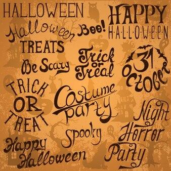 Sammlung von halloween hand typografie-designs