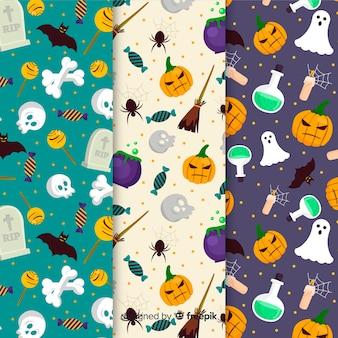 Sammlung von halloween-muster im flachen design