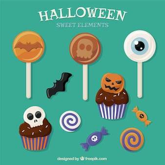 Sammlung von halloween süßigkeiten und bonbons