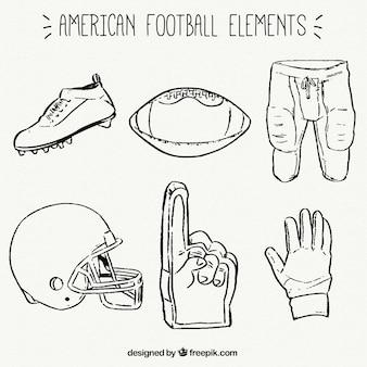 Sammlung von hand gezeichnet american football artikel
