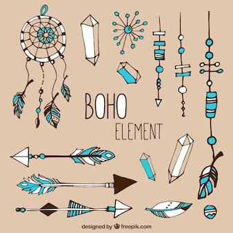 Sammlung von hand gezeichnet boho elemente