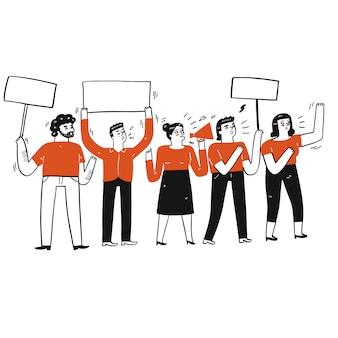 Sammlung von hand gezeichnet eine gruppe von personen, die protest tun. vektorillustrationen im skizzen-gekritzelstil.