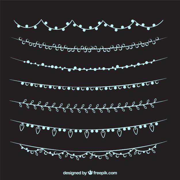 Sammlung von hand gezeichnet elegante lichterketten