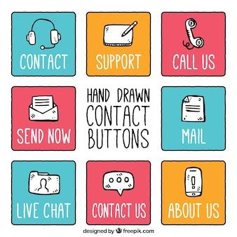 Sammlung von hand gezeichnet kontaktknöpfe