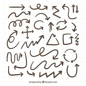 Sammlung von hand gezeichnet pfeile