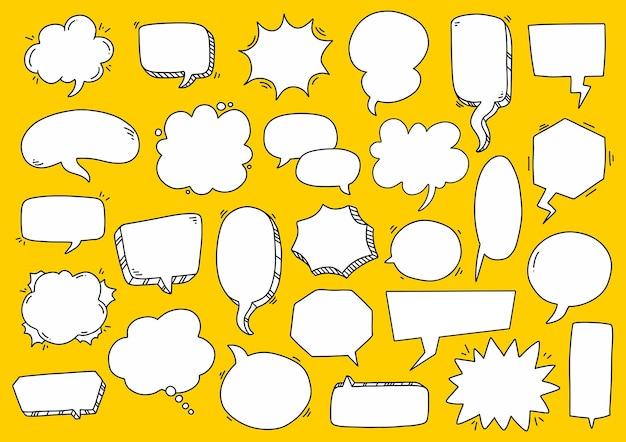 Sammlung von hand gezeichneten blasenspracheillustration