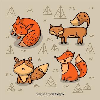 Sammlung von hand gezeichneten füchse